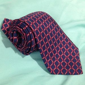 Hermés Tie Made in France Blue / Red Horseshoe